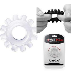 Anel Peniano Power Plus em Formato de Engrenagem - Transparente - Sexshop