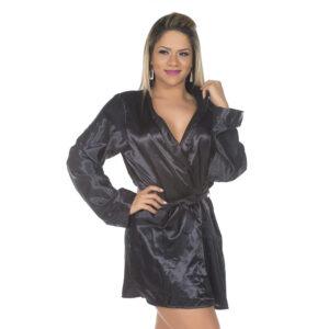 Camisola Robe em Cetim Preto Pimenta Sexy - Sex shop