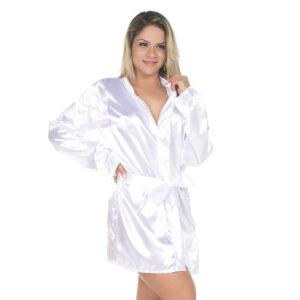 Camisola Robe em Cetim Branca Pimenta Sexy - Sex shop