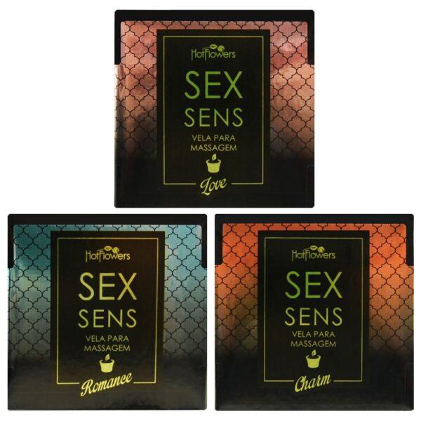 Kit 03 Vela Sex Sens Massagem Sensual 20g Hot FLowers - Sexshop