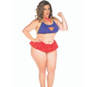 Mini Fantasia Super Girl Plus Size Pimenta Sexy - Sexshop