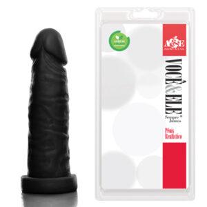 PÊNIS REALÍSTICO PRÓTESE 6 MODELO C PRETO - SEXSHOP