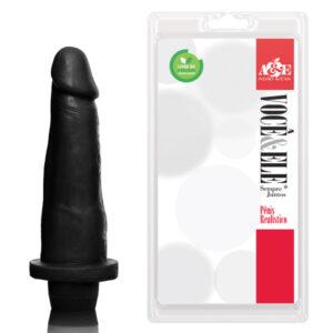 Pênis Prótese 8 com Vibrador Preto - Sexshop