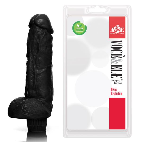 Pênis Realistico Kong com Vibrador Preto - Sexshop