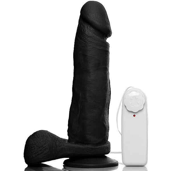 Pênis Realístico 8 com Escroto, Ventosa e Vibrador Preto - Sexshop