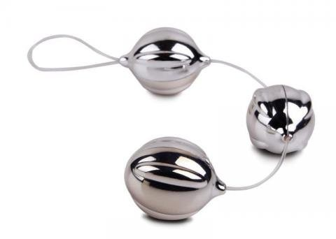 Bolas para pompoar prata com fio de silicone - VIBALLS DUOTONE BALLS - TOPCO SALES - Sexshop