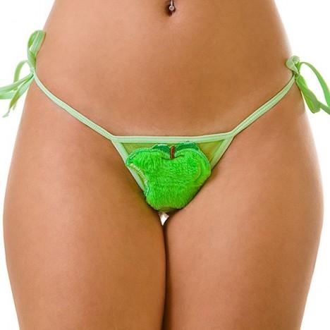 Tanga de amarrar Maçã Verde - Sexshop