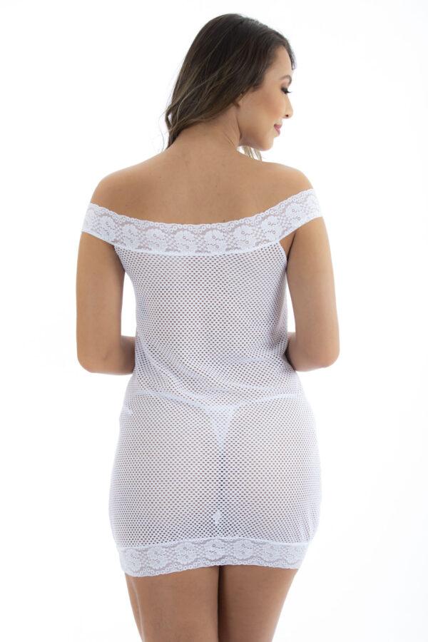 Camisola Arrastão Luxo Branca Pimenta Sexy - Camisola Sexy