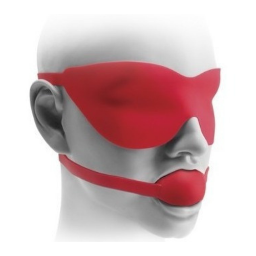 Mordaça Em Forma De Bola Em Silicone Vermelho E Máscara - Large Ball Gag & mask