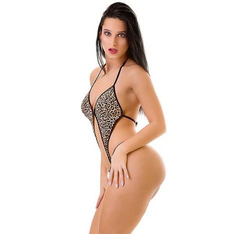 Body Feminino Sensual Oncinha - Sexshop