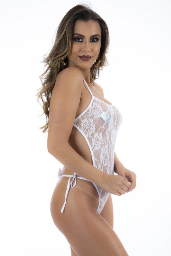 Body Renda Branco Pimenta Sexy