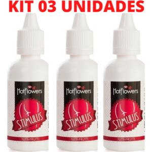Kit 03 Stimulus Óleo de Massagem Anal corporal Tutti Frutti 15ml Hot Flowers - Sexshop