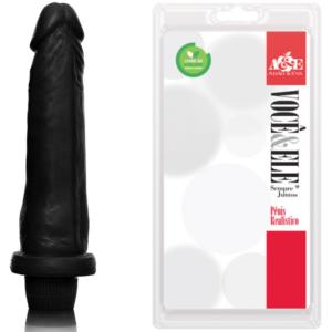 Pênis Preto 18cm com Vibrador - Sexshop