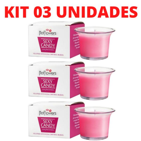 Kit 03 Vela para Massagem Aromatizante Sexy Candy 40gramas HotFlowes Morango com Champanhe - Sex shop