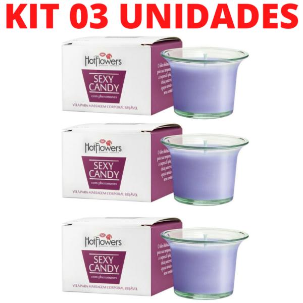 Kit 03 Vela de Massagem Perfumada Sexy Candy 40gramas HotFlowes Vinho - Sex shop
