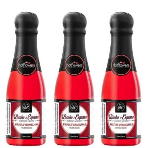 Kit 03 Sabonetes Líquido Banho & Espuma 15ml Frutas Vermelhas HotFlowers - Sex shop
