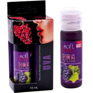 Óleo uva para massagem intima que esquenta 15 ml Soft Love - Sexshop