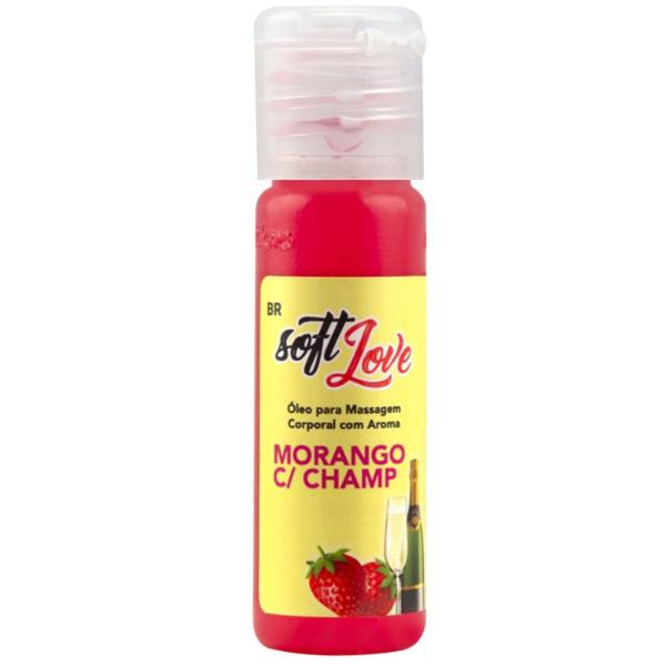 Óleo Morango com Champanhe para massagem intima que esquenta 15 ml Soft Love - Sexshop