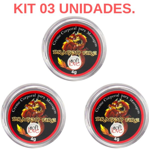 Kit 03 Excitantes unissex Dragon Fire 4gr Soft Love - Sexshop