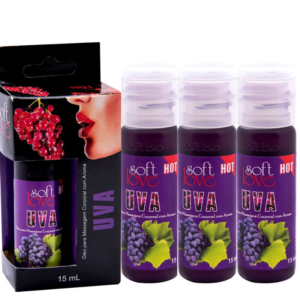 Kit 03 Óleo Uva para massagem intima que esquenta 15 ml Soft Love - Sexshop