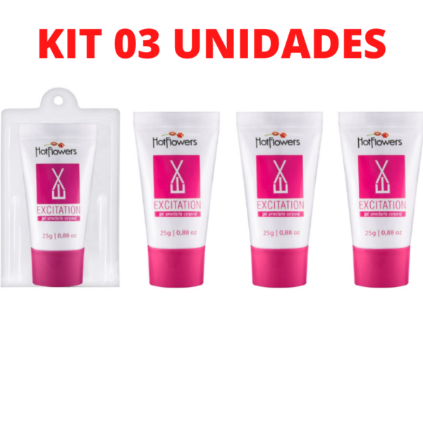 Kit 03 Excitante Feminino Excitation Rosa 25g HotFlowers - Sexshop