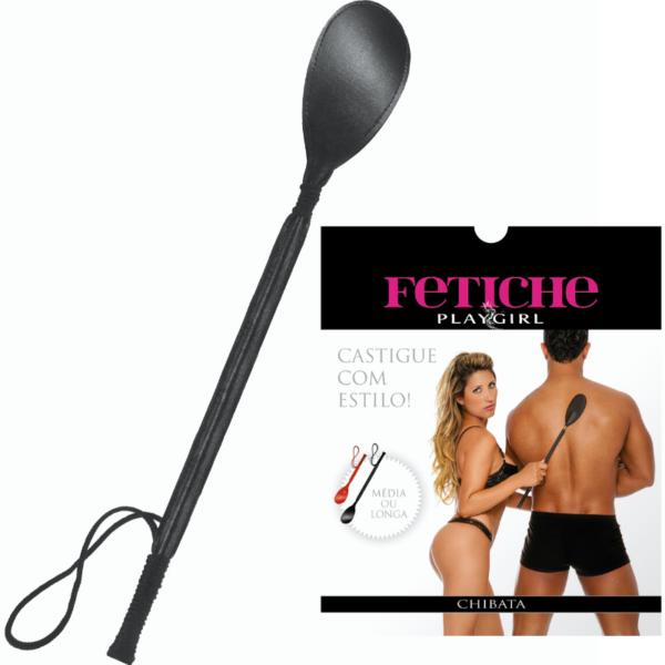 Chibata Erótica Longa 45cm Preto - Sexshop