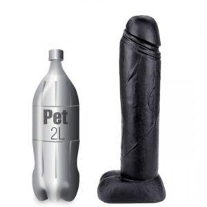 Pênis enorme e grosso macio e flexível 40x10 cm preto - Sexshop