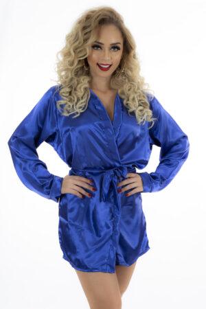 Camisola Robe em Cetim Azul Pimenta Sexy - Sex shop