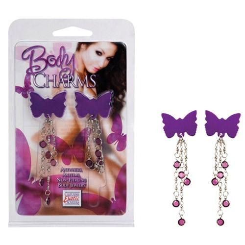 Kit com 2 piercings de borboletas - BODY CHARMS BUTTERFLIES - CALIFORNIA EXOTIC - Sexshop