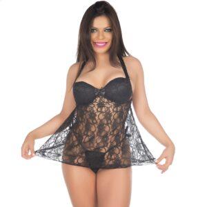 Camisola Sensual Vanessa Preta Pimenta Sexy - Sexshop