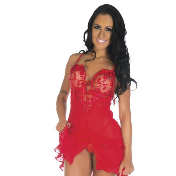 Camisola Sensual Luxúria Vermelha Pimenta Sexy - Camisola Sexy