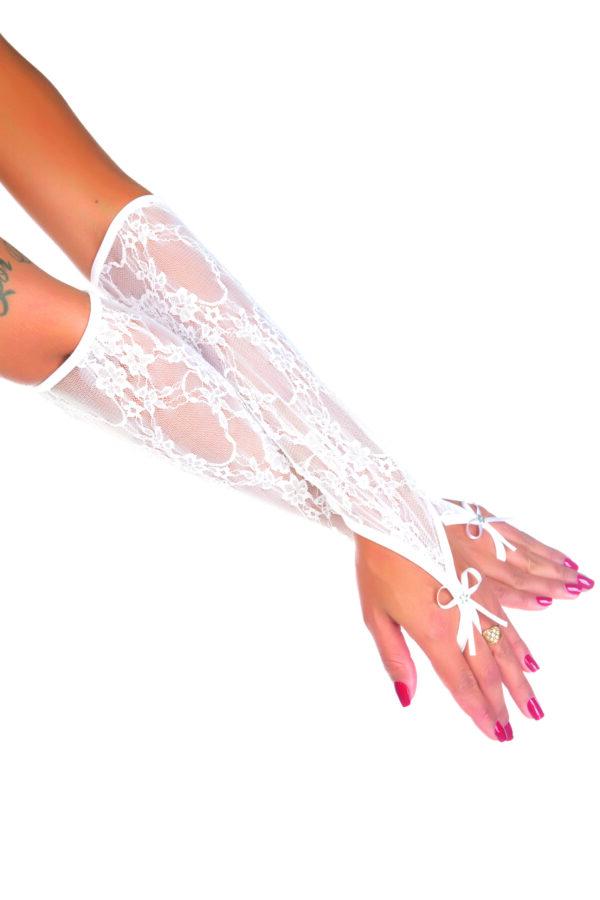Luva Longa Renda Branca Pimenta Sexy - Sexshop