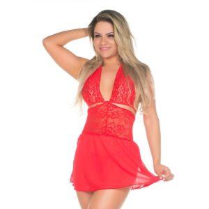 Camisola Sensual Renda Curta Pimenta Sexy Vermelho - Sexshop