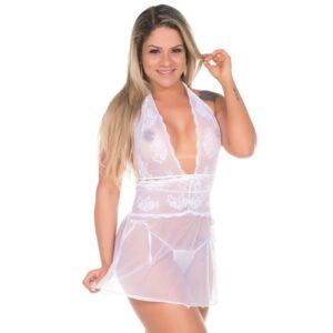 Camisola Sensual Renda Curta Pimenta Sexy Branco - Sexshop