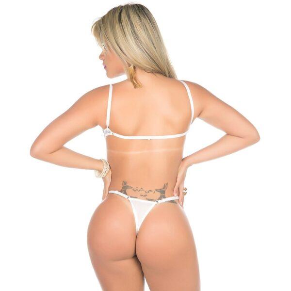 sexshop, Body Gostosa Tulle Bojo Estruturado Branco Pimenta Sexy