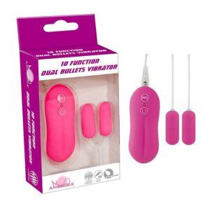 Vibrador Dual Bullet - pink - 10 Modos de Vibração - Sexshop