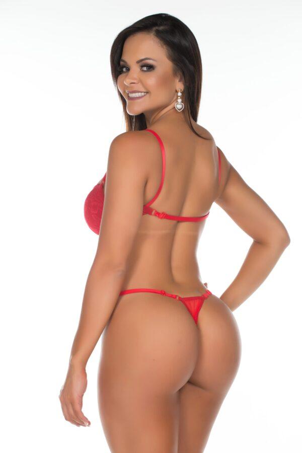 Body Gostosa Tulle Bojo Estruturado Vermelho Pimenta Sexy - Lingerie
