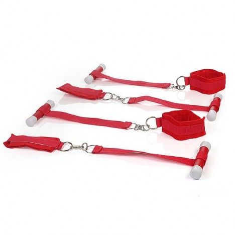 BONDAGE - Kit com 4 Amarras para Prender na Porta - Vermelho - Sexshop