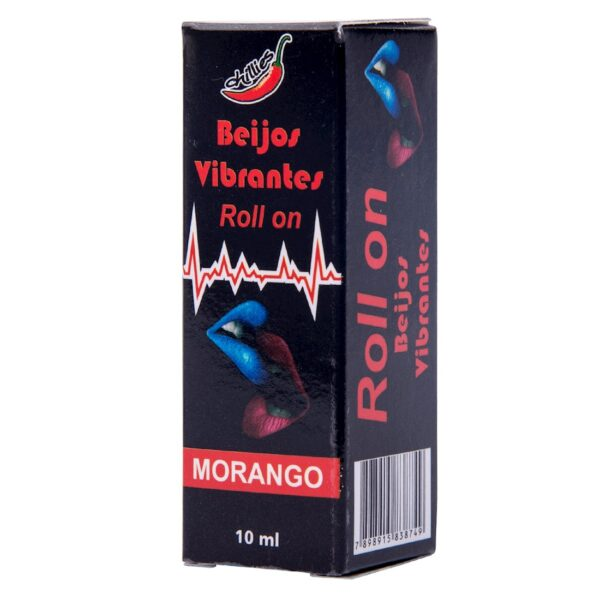 Gel do Beijo Sexo Oral Vibrante em Rollon 10ml Morango - Chillies - Sex shop