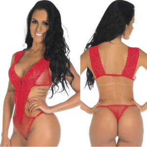 Lingerie Sexy, Body Arrastão Vermelho Pimenta Sexy