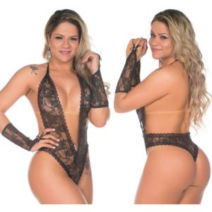 Body Sensual Fashion Preto Rendado Pimenta Sexy - Lingerie