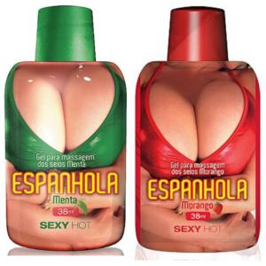 Kit 02 Gel para massagem dos seios ESPANHOLA - Menta e Morango - Sex shop