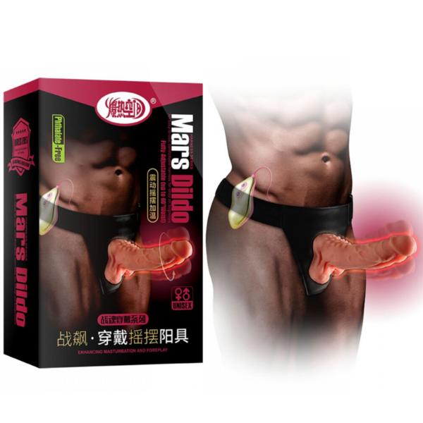 Pênis Rotativo com Aquecimento, Vibrador e Cinta Super Reforçada - Mars Dildo