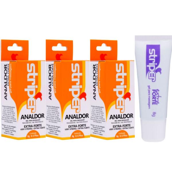 Kit 03 Anestésico Anal Striper Analdor Extra Forte 8g INTT - Sex shop