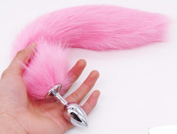 Plug Anal Rabo de Raposa Rosa - 7cm - Sexshop