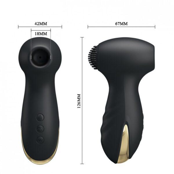 Estimulador com Sucção e Vibração Banhado em Ouro 24K Possui 7 Modos de Vibração e 7 Modos de Sucção - PRETTY LOVE HAMMER - Sexshop