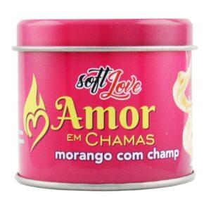 Amor em Chamas Vela MORANGO COM CHAMPANHE Hot Beijável 50g Soft Love - Sex shop