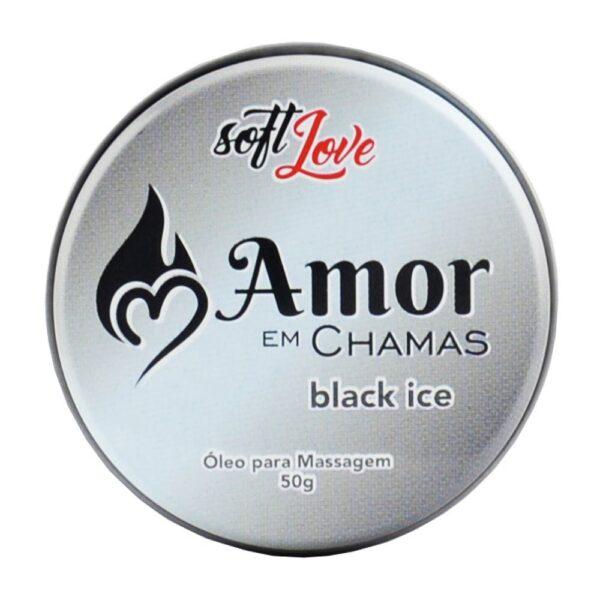 Amor em Chamas Vela BLACK ICE Hot Beijável 50g Soft Love - Sex shop