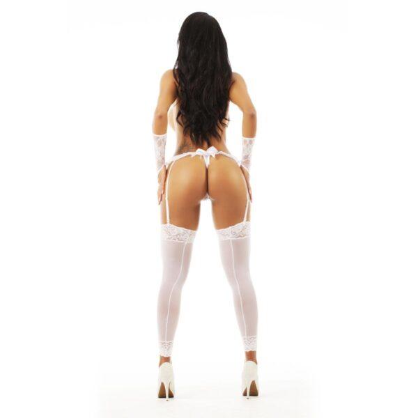 Lingerie, Fio Dental Liga Pimenta Sexy Branca