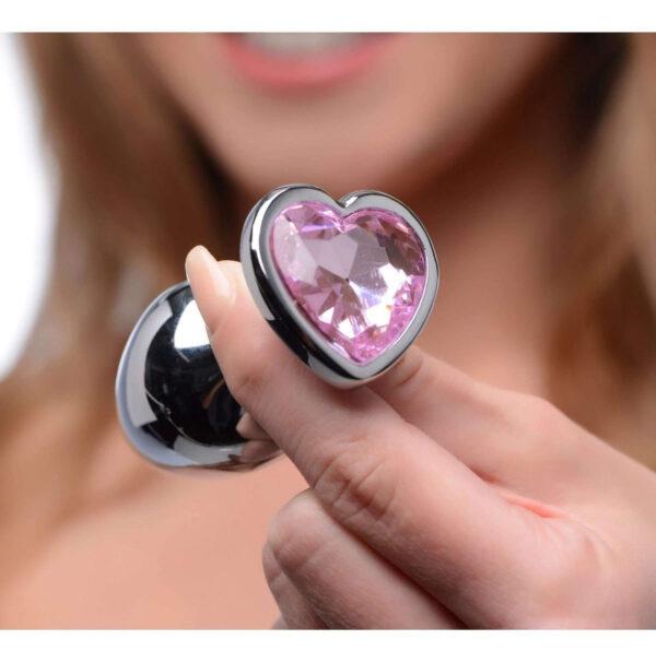 Plug Anal P de Aço com Cristal - Pedra Coração - Steal Butt Plug